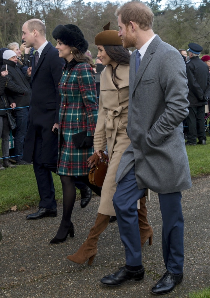 The British royal family attending Christmas Day church service at the Church of St. Mary Magdalene at Sandringham, England