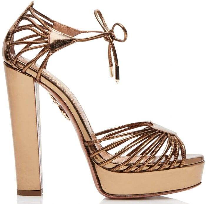 8ed8ba905feb0 Aquazzura  Josephine  Plateau platform gold metallic leather sandals