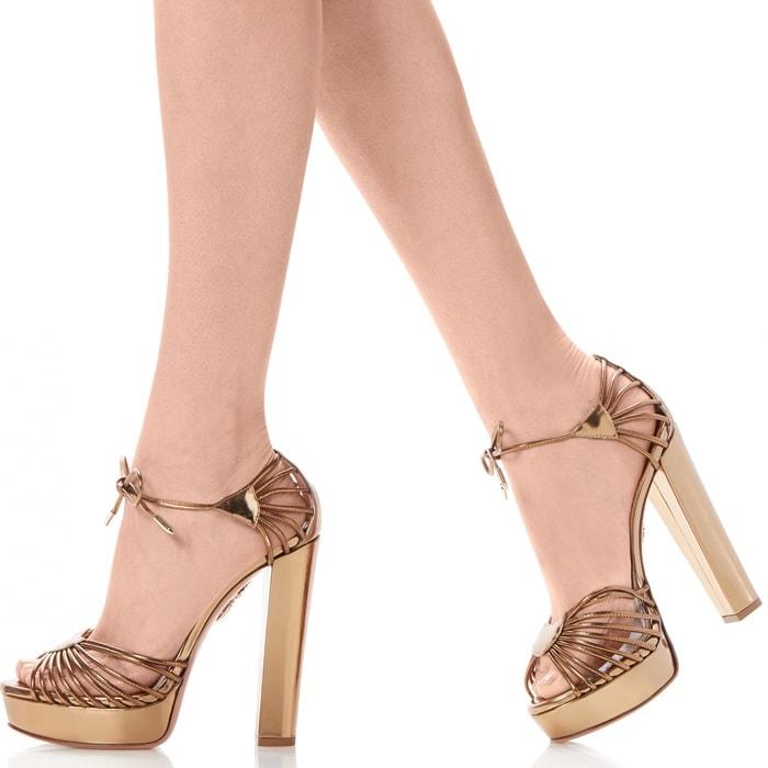 Aquazzura 'Josephine' Plateau platform gold metallic leather sandals