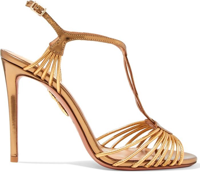 Crafted from nappa laminated leather in sleek antique gold, this stiletto heel pair features flattering and slim straps at the toe and around the ankle