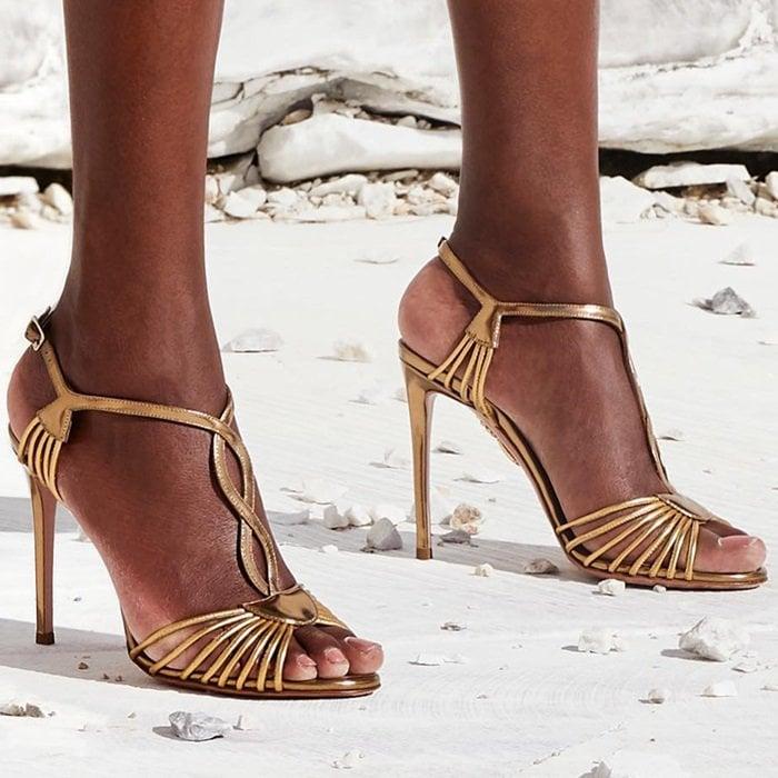 Aquazzura 'Josephine' gold metallic leather sandals