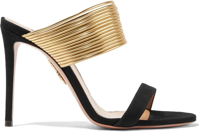 The style sits on a sky high stiletto heel to create a leg-lengthening effect