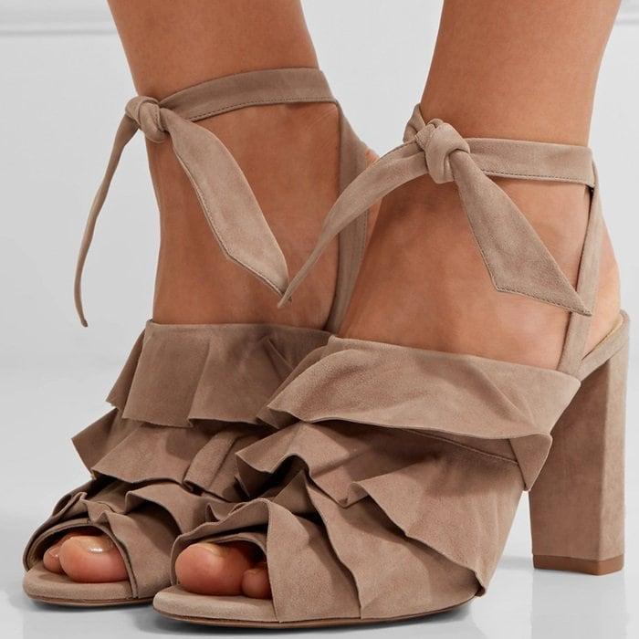 Alexandre Birman 'Barbara' Ruffled Suede Sandals