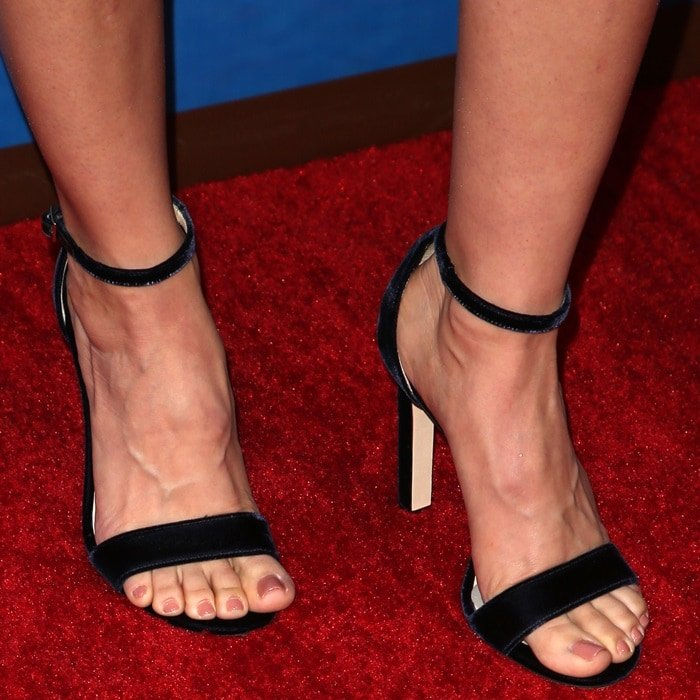 Alison Brie showing off her feet in barely there Jimmy Choo sandals