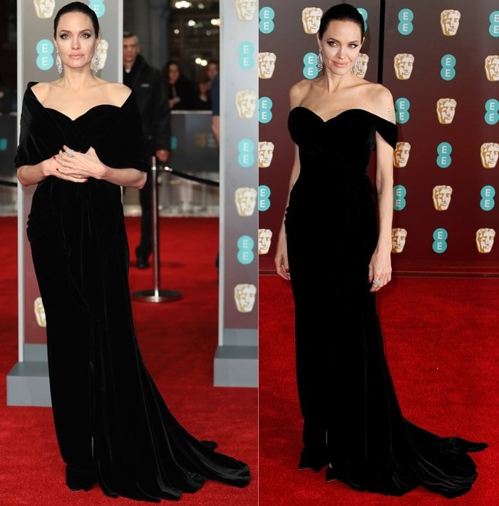 Angelina Jolie wearing acustom Ralph & Russo Couture velvet gownat the 2018 EE British Academy Film Awards held at Royal Albert Hall in London, England, on February 18, 2018