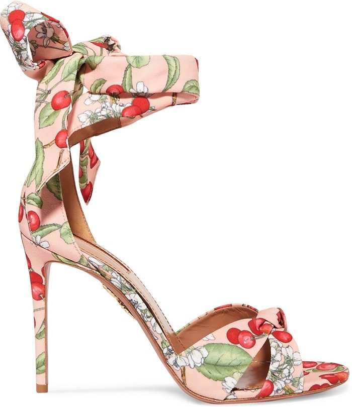 6127bd3ba302 Cherry Blossom Print Sandals   All Tied Up  Floral Heels by Aquazzura