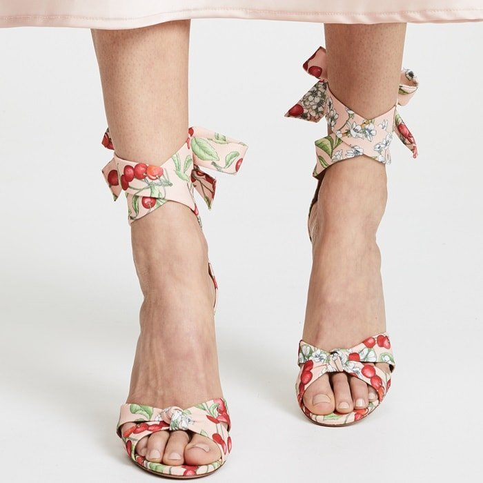 Aquazzura's cherry blossom print 'All Tied Up' sandals are ideal for working a little print into wedding and garden party outfits