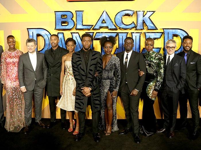 """Black Panther"" stars Florence Kasumba, Andy Serkis, Michael B. Jordan, Letitia Wright, Chadwick Boseman, Lupita Nyong'o, Daniel Kaluuya, Danai Gurira, and Martin Freeman with director Ryan Coogler"