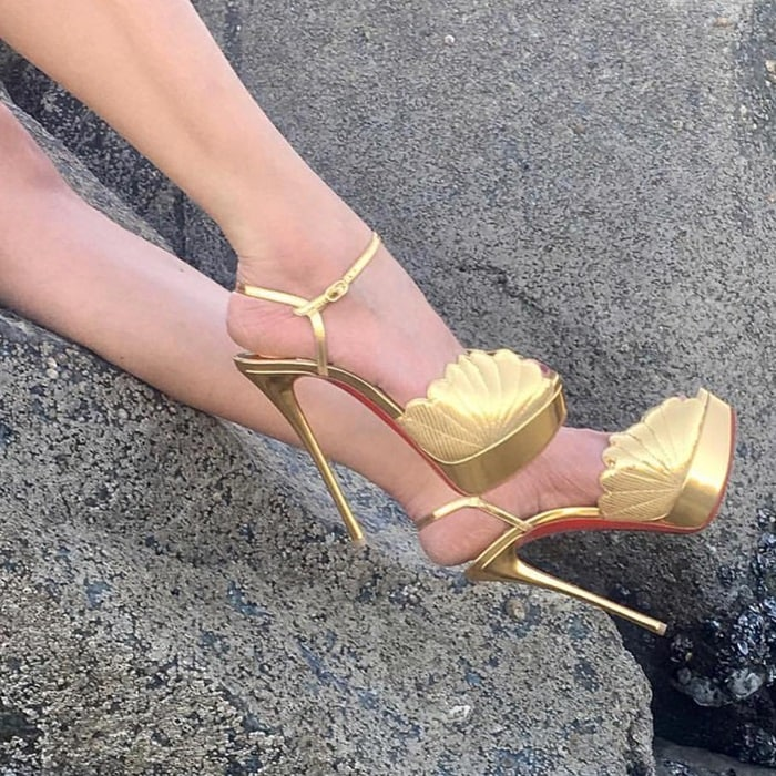 'Botticella Alta' Platform Sandals in Gold