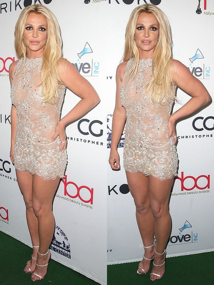 Britney Spears in a sparkly nude mini-dress and Giuseppe Zanotti 'Harmony Sparkle' sandals.