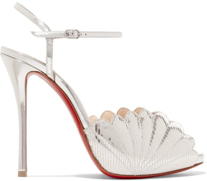 2a63ff63e5b2 This sandal is made from high-shine silver lizard-effect leather and set on