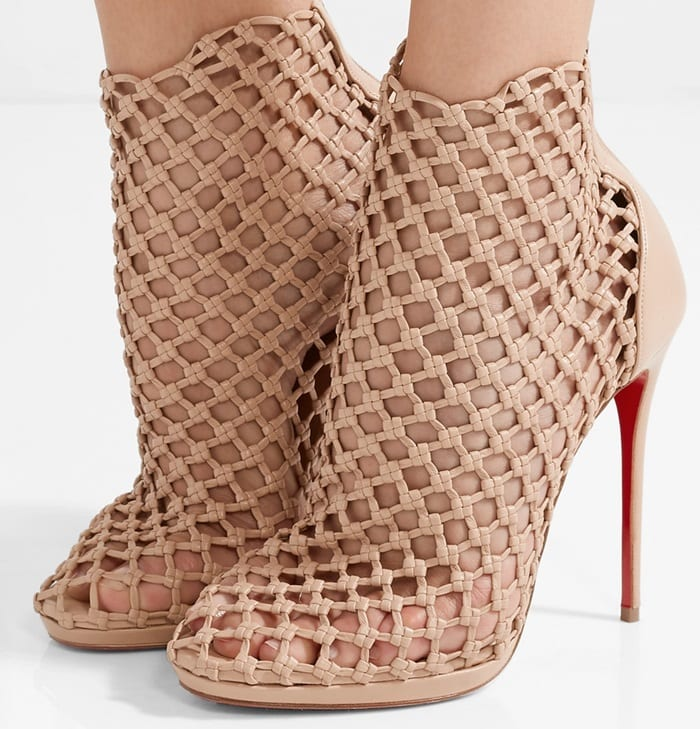 huge selection of 6436b fec03 Porligat Woven-Leather Caged Red Sole Booties by Christian ...