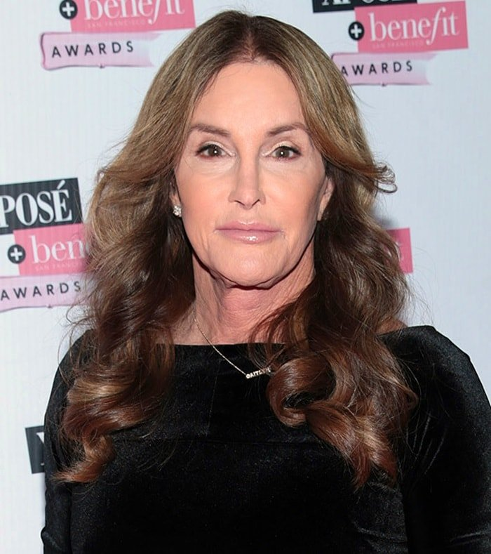 Caitlyn Jenner wearing a knee-length dress with black pointy-toe pump sat the Xposé Benefit Beauty Awards held at the Mansion House in Dublin, Ireland, on February 1, 2018