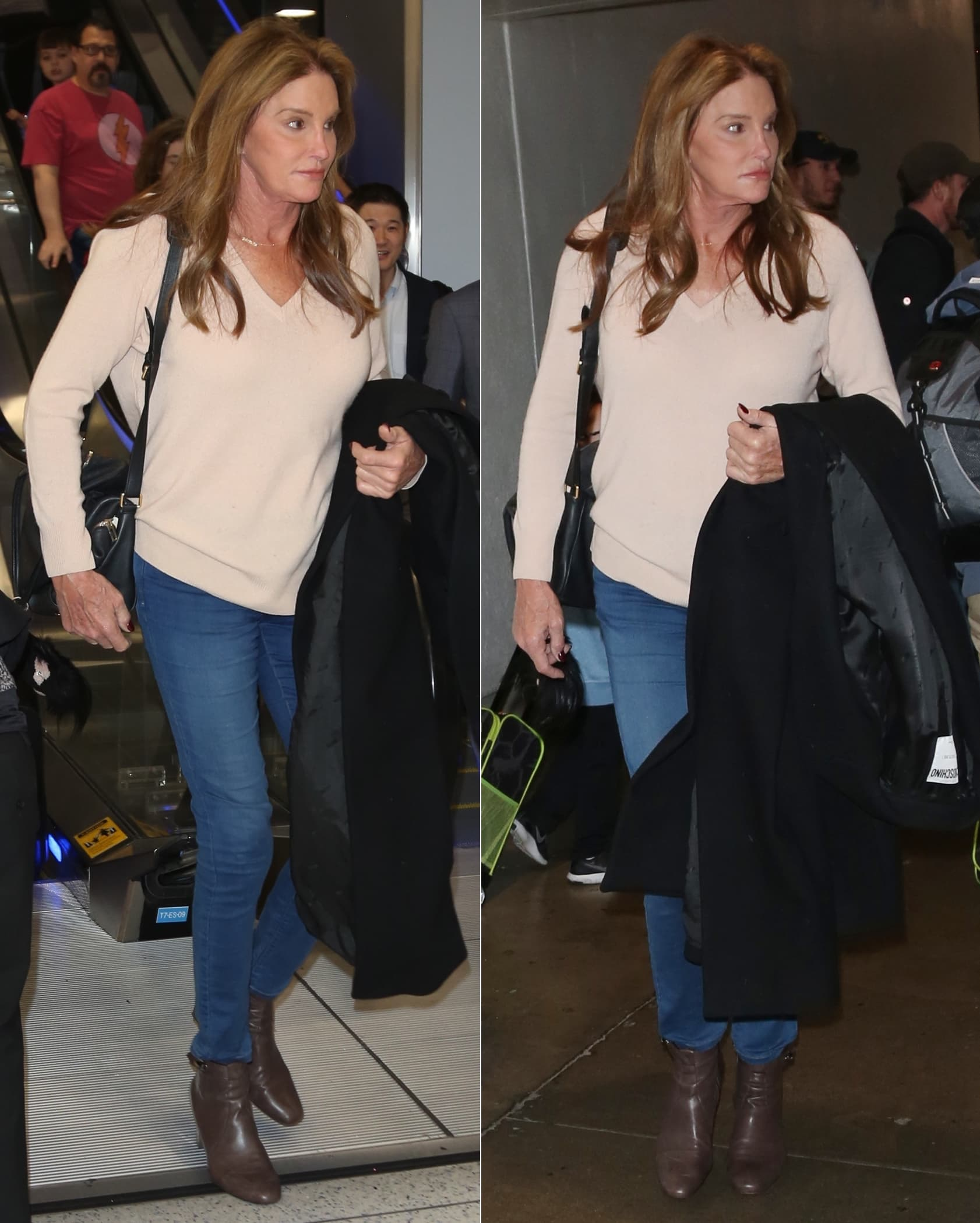 Caitlyn Jenner styled her brown leather ankle boots with blue jeans and a cozy cream jumper
