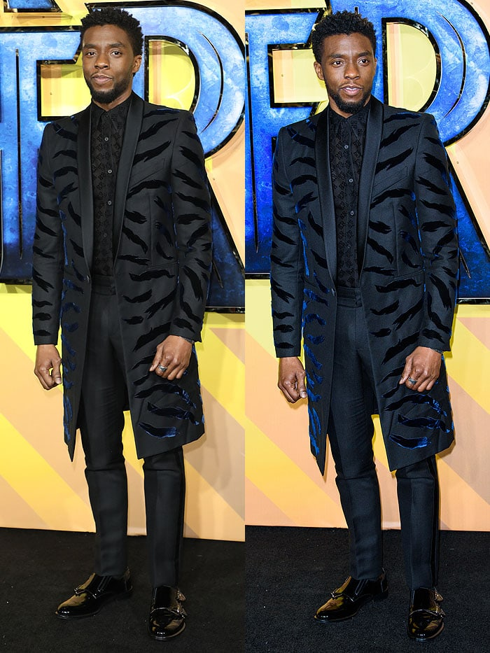 Chadwick Boseman a wearing a Givenchy Spring 2018 ensemble featuring a tiger-striped long blazer.