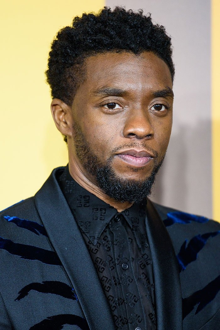 "Chadwick Boseman at the European premiere of ""Black Panther"" held at Eventim Apollo in London, England, on February 8, 2018."