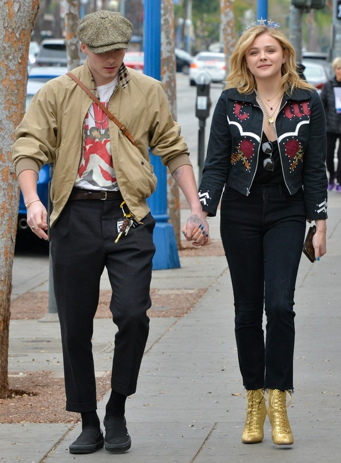 Chloë Grace Moretz celebrates her 21st birthday with Brooklyn Beckham in West Hollywood, California, on February 10, 2018