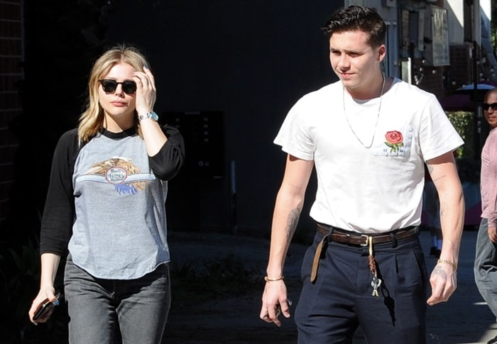 Chloe Moretz is joined by boyfriend Brooklyn Beckham while stepping out for a lunch date at Good Neighbor restaurant in Studio City, California, on February 4, 2018
