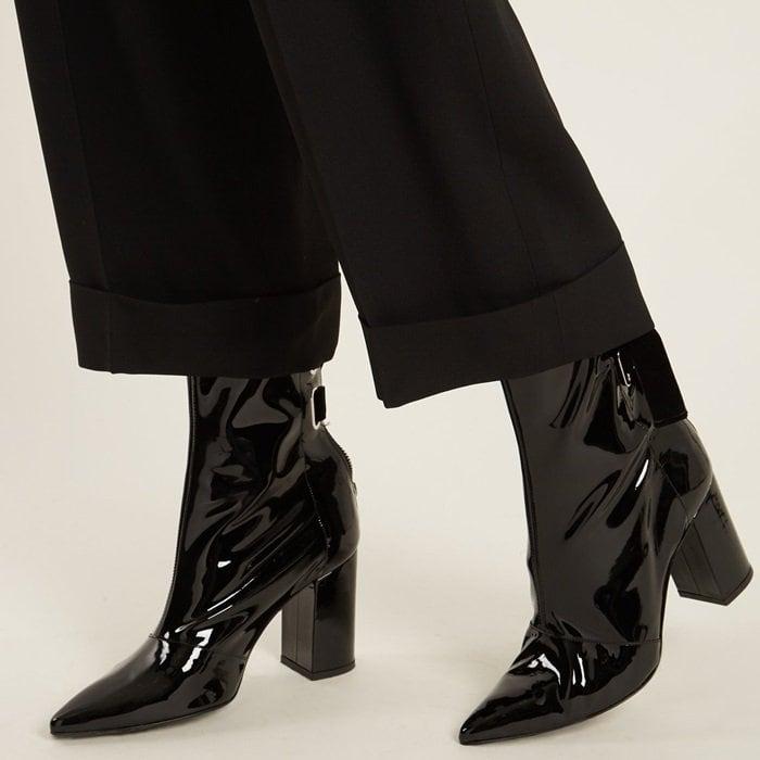 Clergerie X Self-Portrait Kibbon patent-leather ankle boots