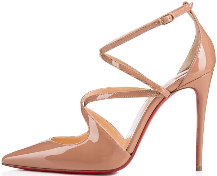 'Crossfliketa' pumps in nude patent leather