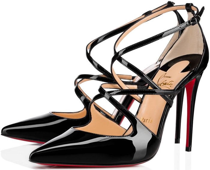 'Crossfliketa' pumps in black patent leather
