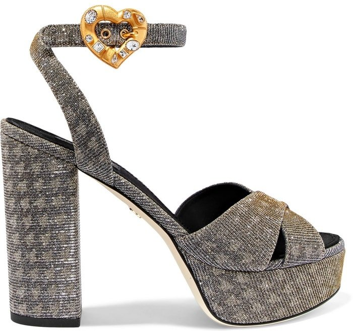 Sandals With Crystal-Adorned Heart Buckles