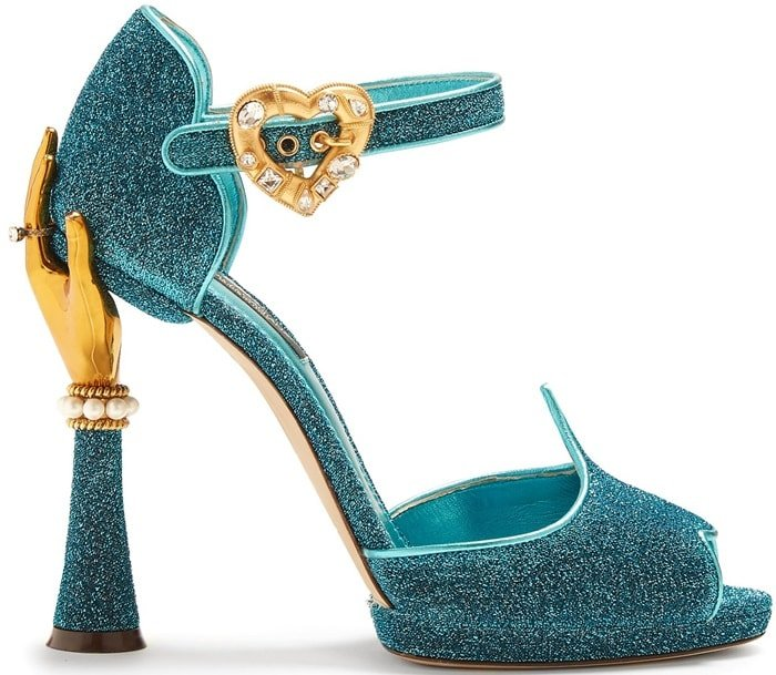 2ea7831a9abd51 They re decorated with faux-pearls and shimmering crystals and are fastened  with a. Gold-Hand Shimmering Turquoise-Blue Sandals