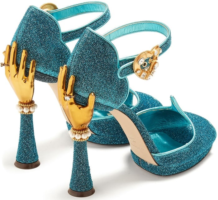 Gold-Hand Shimmering Turquoise-Blue Sandals