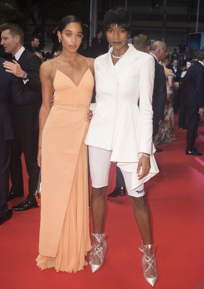 Laura Harrier andDamaris Lewis on the red carpet at the premiere of 'BlacKkKlansman' at the 2018 Cannes Film Festival