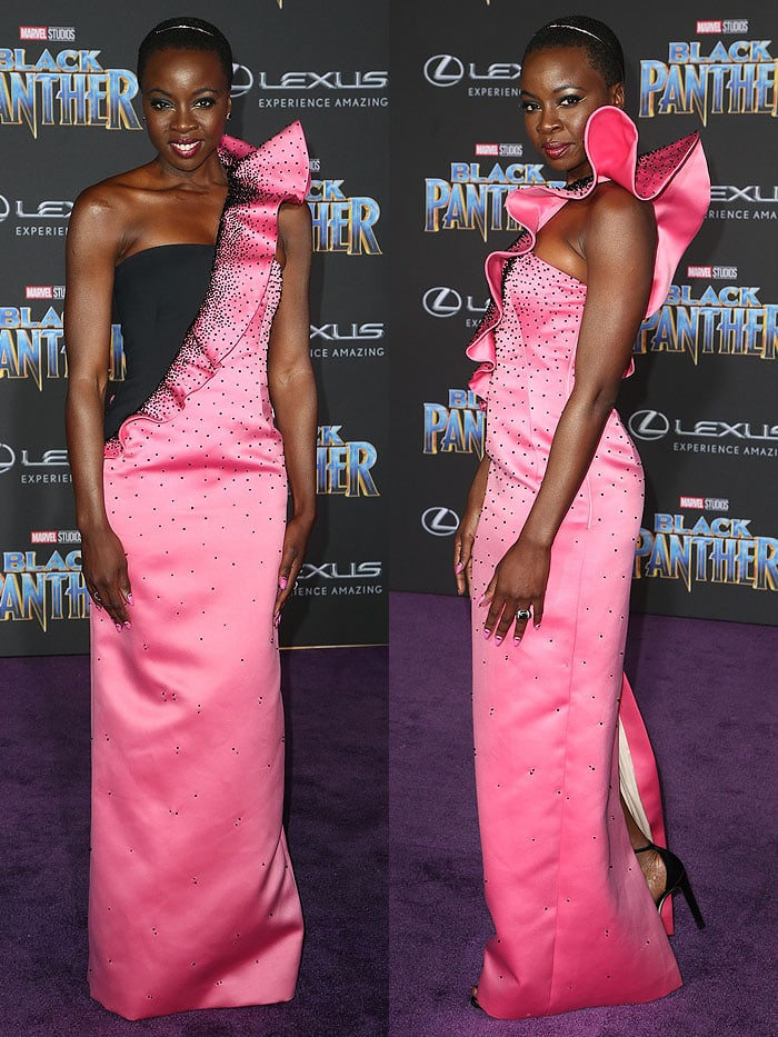 """Danai Gurira at the """"Black Panther"""" world premiere atthe Dolby Theatre in Hollywood, California, on January 29, 2018."""