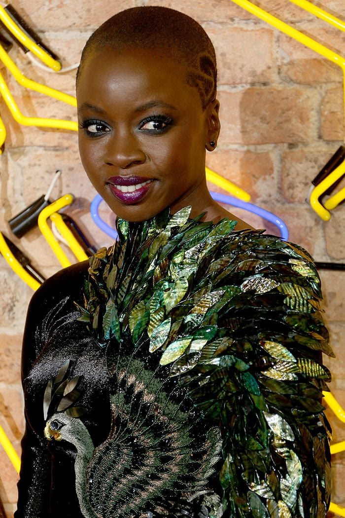 Danai Gurira rocking a shaved design in her buzzcut hairstyle.