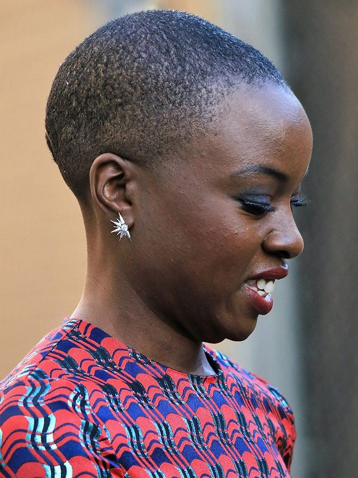 Danai Gurira showing off her patterned buzz cut