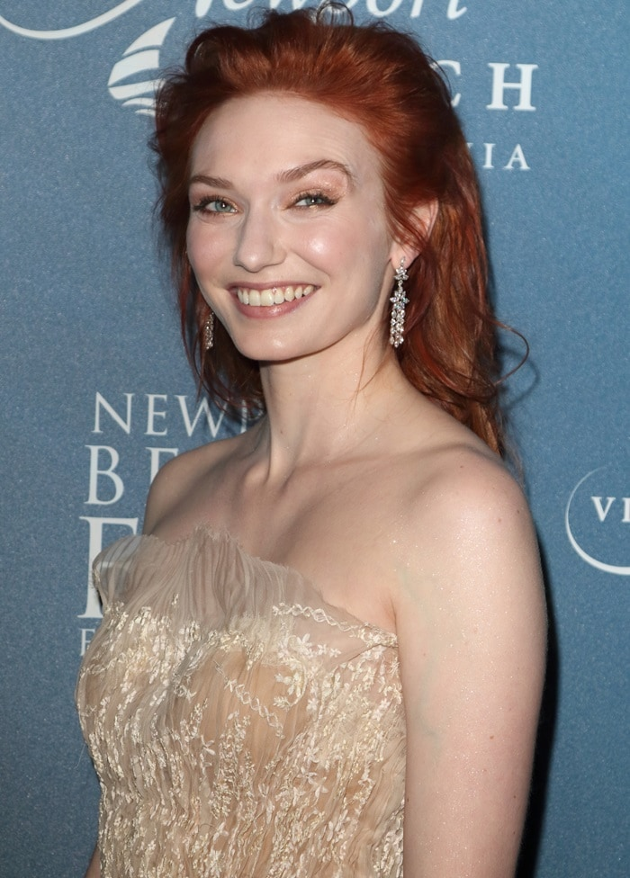 Eleanor Tomlinson's strapless pleated embroidered dress
