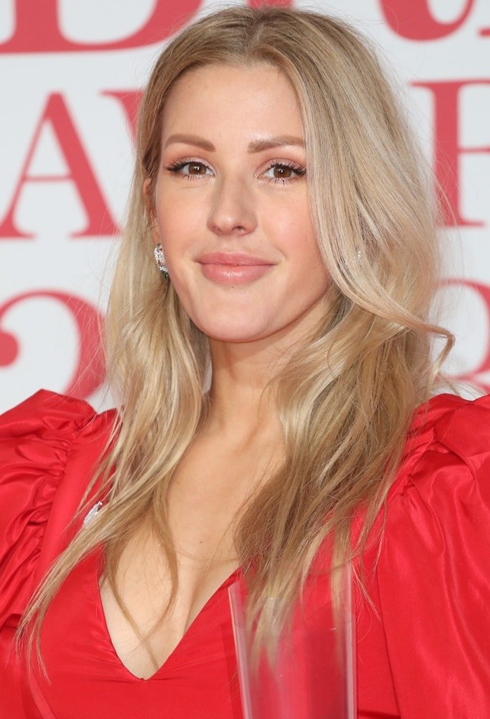 Ellie Goulding in a Stella McCartney mini dress at the 2018 BRIT Awards held at The O2 Arena in London, England, on February 21, 2018