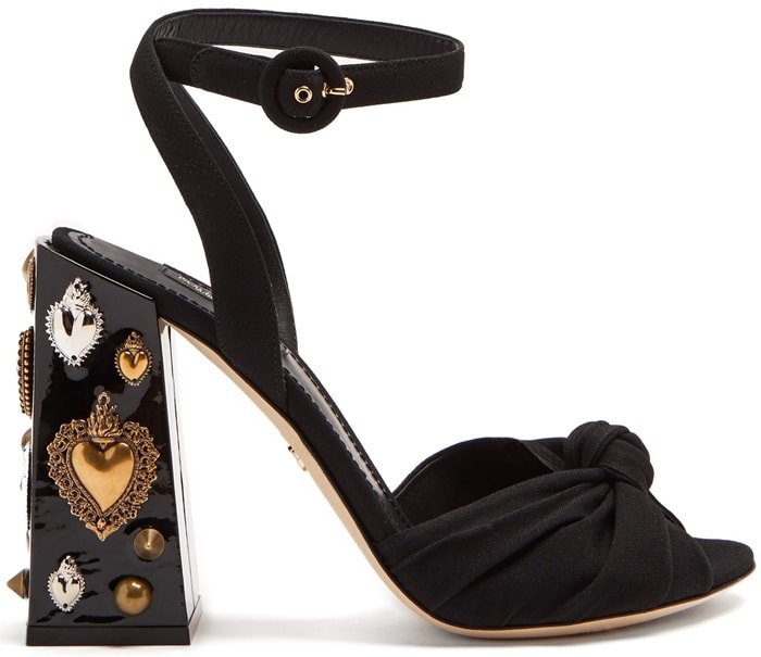 Embellished-Heel Twisted-Satin Sandals