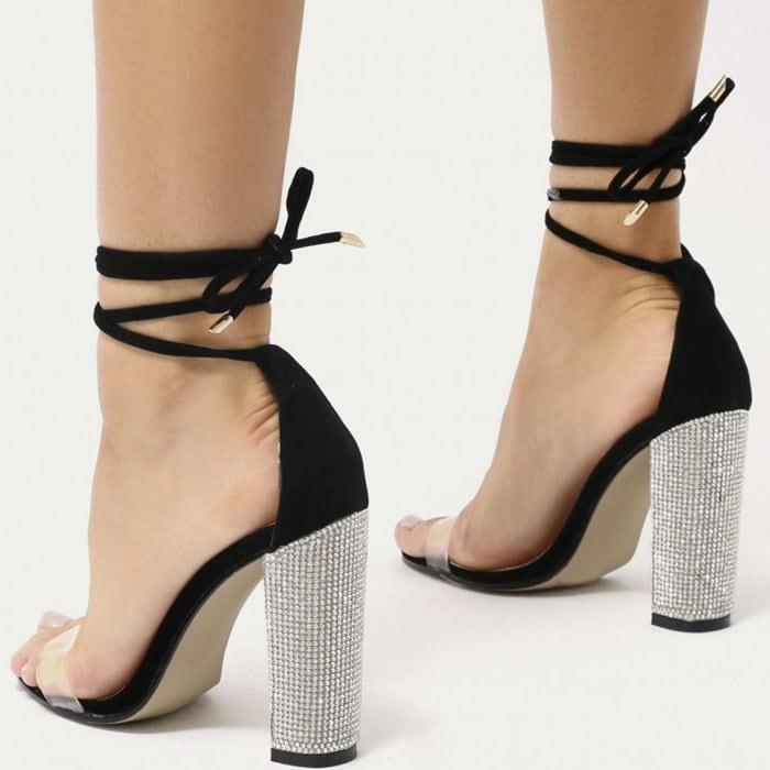 Glitter Block Heels in Black