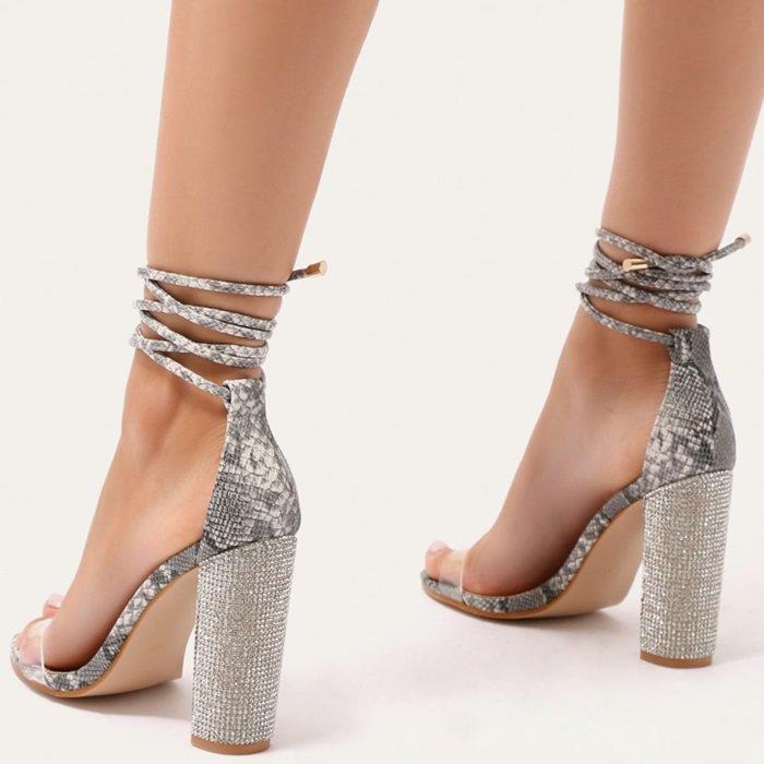 Glitter Block Heels in Snake