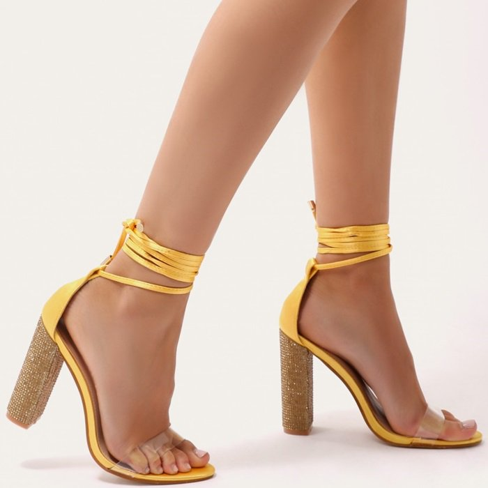 Glitter Block Heels in Yellow