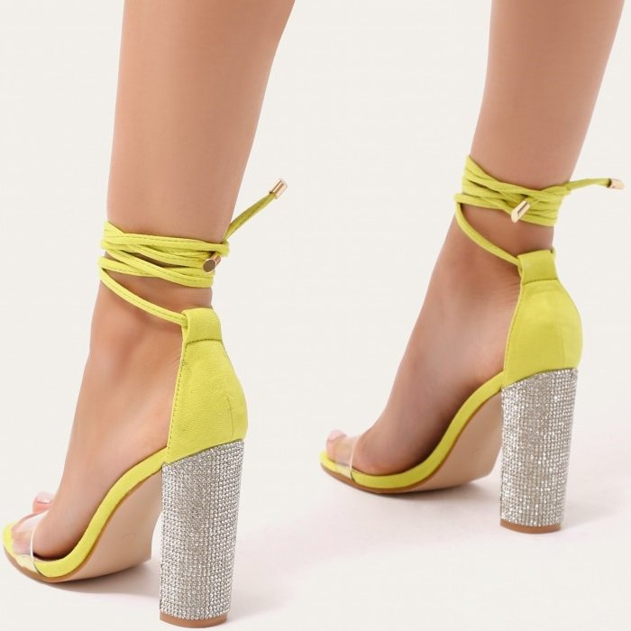 Glitter Block Heels in Lime Green