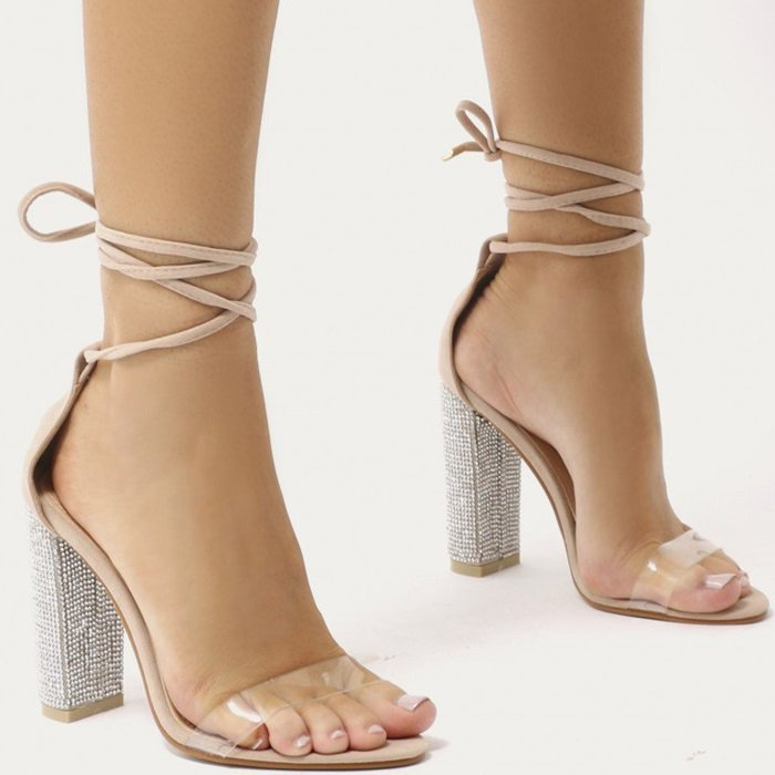 Glitter Block Heels in Nude