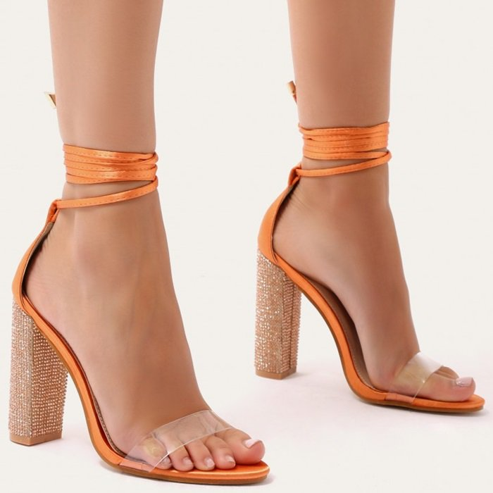 Glitter Block Heels in Orange