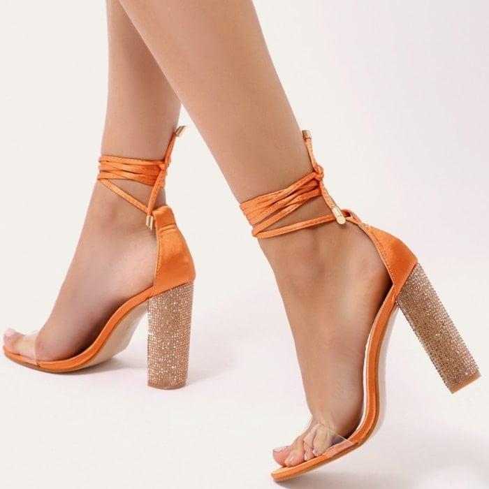 Glitter Block Heels in Orange