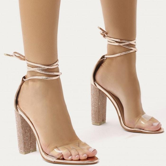 Glitter Block Heels in Gold