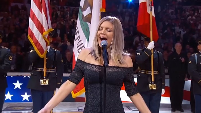 Fergie doing a sultry rendition of the US national anthem.