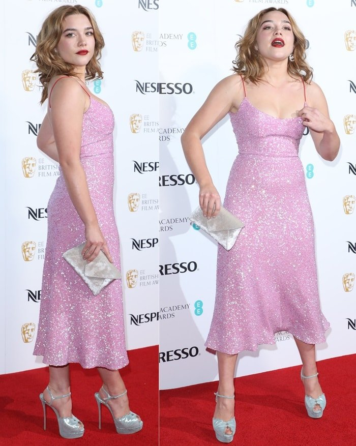 Florence Pugh glittered in a pale pink dress that she styled with everest lurex-laced suede ankle-strap sandals with shell detail stitching at the 2018 EE British Academy Film Awards Nominees Party at Kensington Palace in London, England, on February 17, 2018