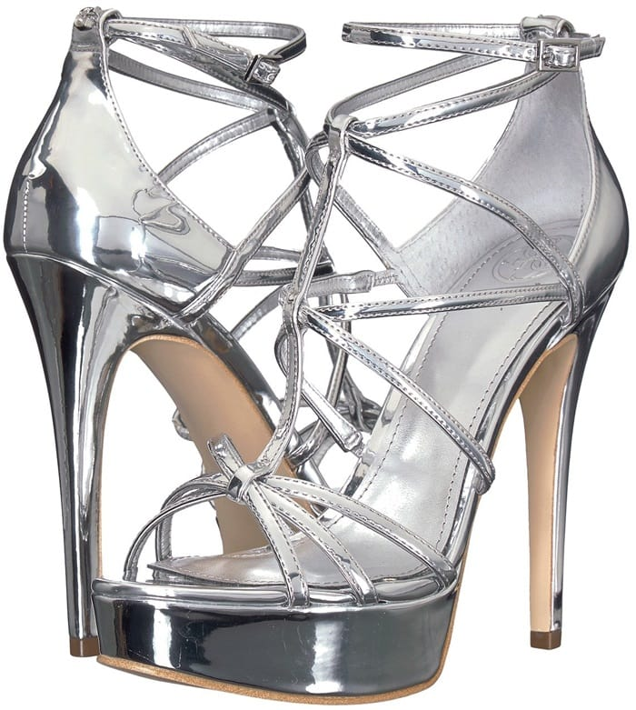 4d24d53d8c02 Faux-leather GUESS heels featuring a strappy design
