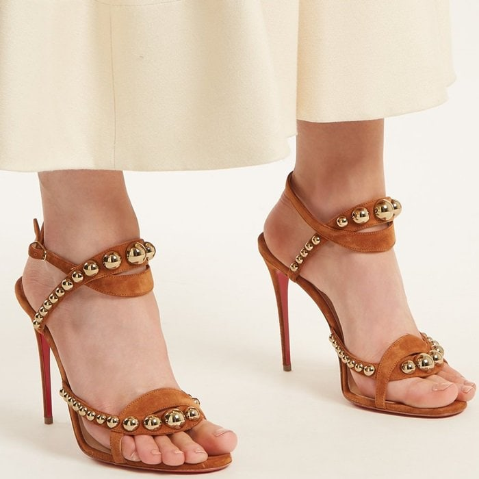 Opulent jewellery forms as inspiration for Christian Louboutin's latest Galeria tan-brown sandals