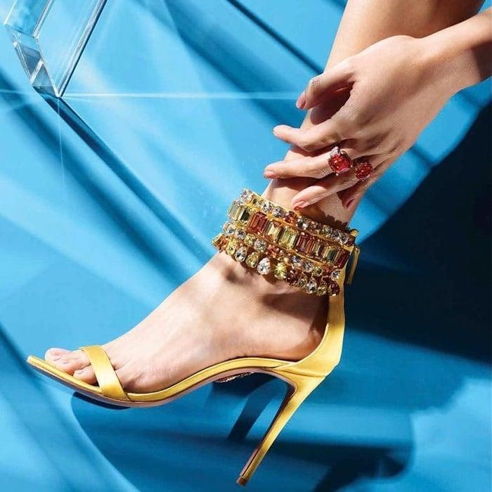c5e21d101bfac Gold Metallic Leather Sandals  Aquazzura s  Josephine  Heels