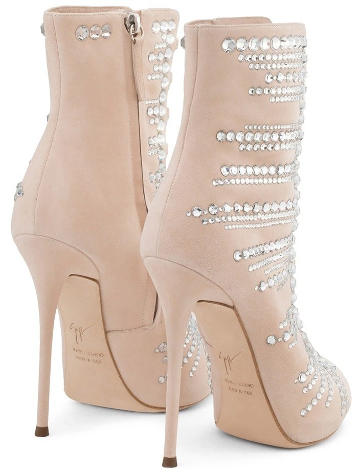 Pink Suede 'Kaylee' Boots With Crystals