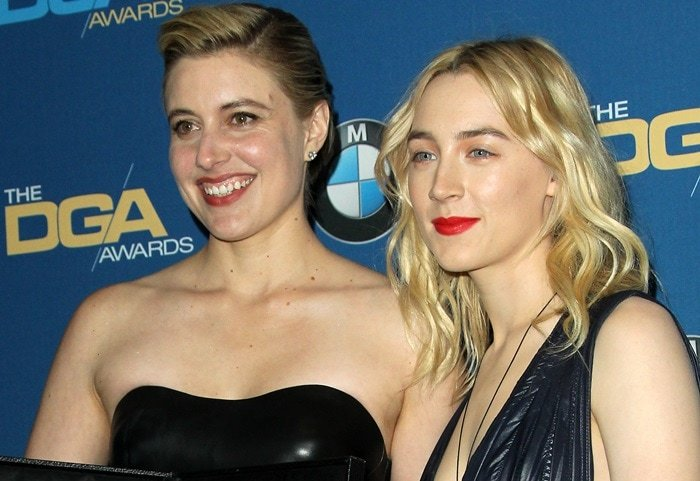 Saoirse Ronan shares the stage with 'Lady Bird' director Greta Gerwig during the 2018 Directors Guild of America Awards at the Beverly Hilton Hotel in Beverly Hills, California, on February 3, 2018
